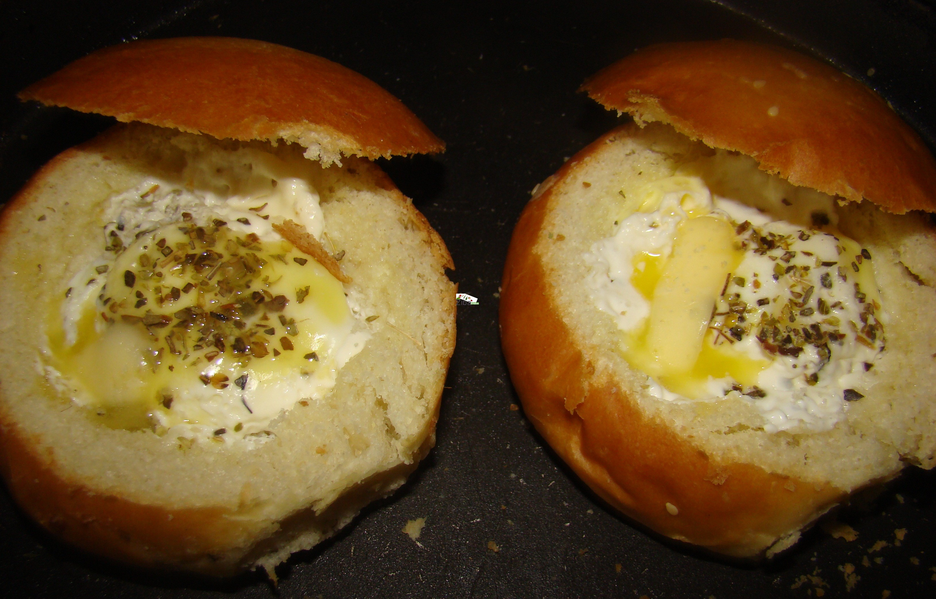 Egg Baked in Dinner Roll Recipe
