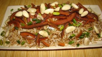 Rice With Julienned Orange Peel Recipe